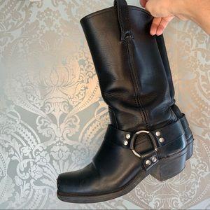 Frye Harness Boots Original Box Toe Black Leather